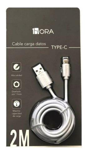 Cable usb hora carga datos 2 metros tipo c alta calidad rudo