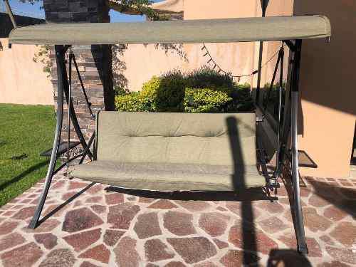 Columpio jardín exterior verde tela usado se convierte cama