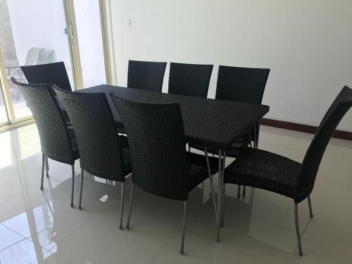 Comedor exterior jardin rattan ratan sintetico 8 sillas negr
