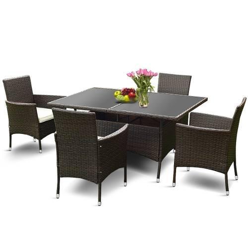 Comedor exterior muebles de jardin rattan 5 piezas msi!