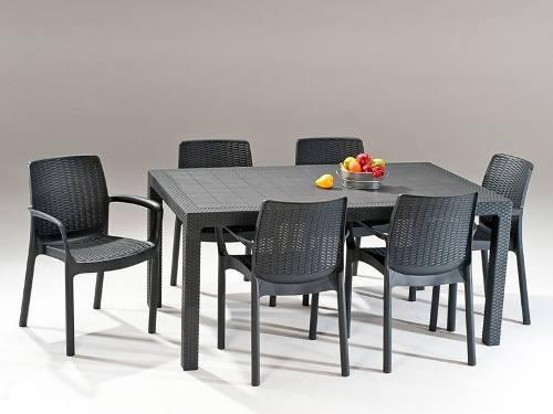 Elegante mesa para exterior tipo rattan 6 personas.