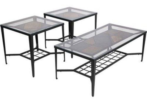 Elegante set de 3 mesas de jardín exterior ashley furniture