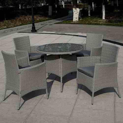 Hermoso comedor exterior rattan gris 4 sillas terraza