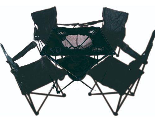 Juego de 4 sillas y mesa con hielera plegables camping pesca
