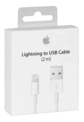 Lote con 5 cables cargador lightning 2m para iphone 6,7,8 x
