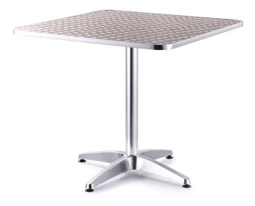 Mesa de aluminio cuadrada de 80x80 y 75 cms de altura