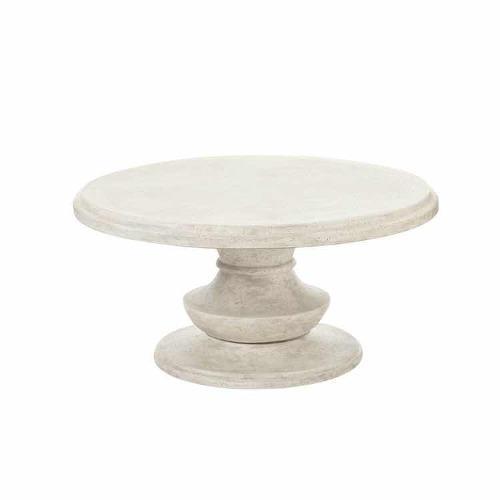 Mesa exterior redonda para café terrafab de mineral blanca