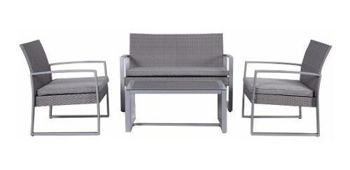 Mesa patio comedor exterior aire libre rattan set 4 piezas