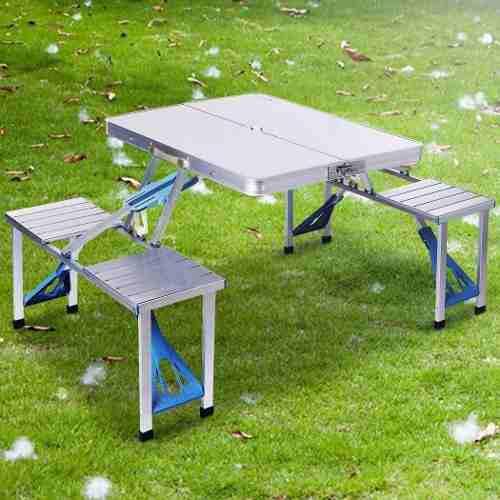 Mesa plegable con 4 sillas de aluminio portátil p/ camping