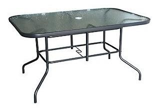 Mesa rectangular con vidrio 142 x 90 cm grispara exterior