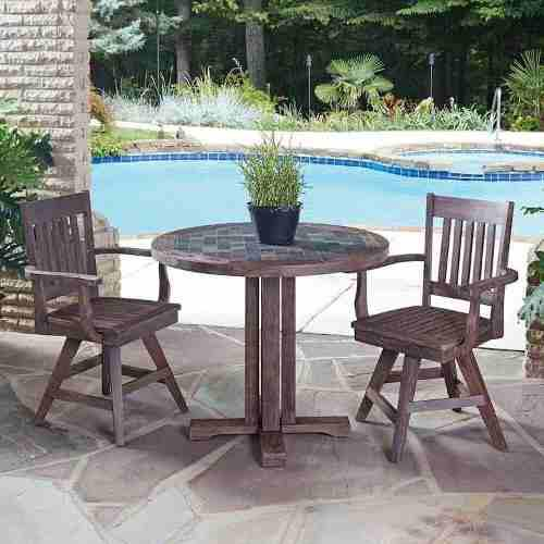 Mesa redonda de madera para comedor exterior marruecos en ...
