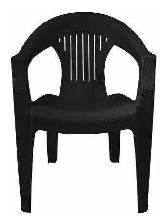 Paquete de 8 silla plastica plastico apilable negra jardin