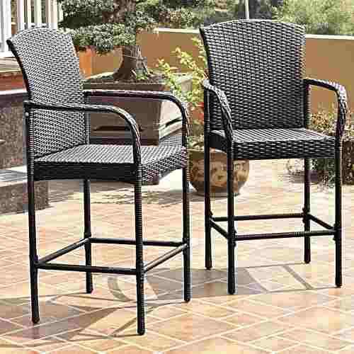 Set de 2 sillas altas de mimbre mezcla café para exteriores