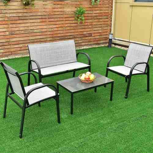 Set patio & jardín 4 piezas con mesa de centro gris goplus