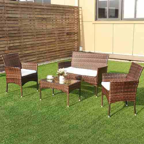 Set patio & jardín 4 piezas de mimbre en café mezclado