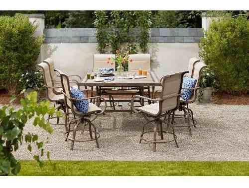 Set patio & jardín 9 piezas en aluminio de bancos altos