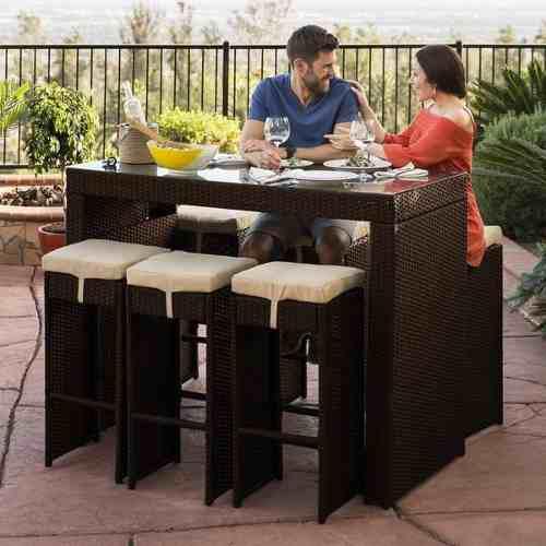 Set patio & jardín comedor de bar de mimbre marrón 7