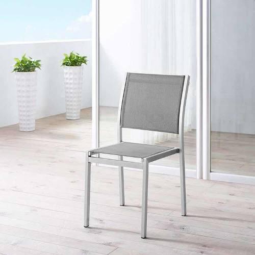 Silla de comedor exterior de alumínio gris shore patio