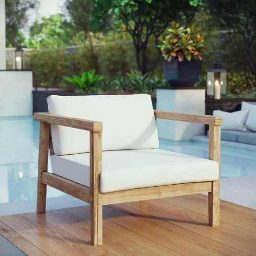 Silla de jardín exterior de madera teca cojín blanco