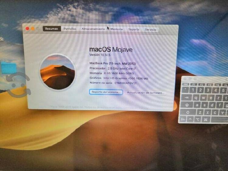 Macbook pro i7 13 pulgadas 8gb ram mid 2012