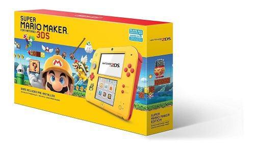 Consola nintendo 2ds amarillo+ juego super mario maker nuevo