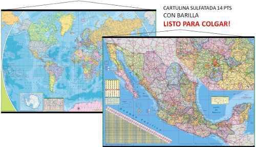 Mapamundi + mapa mexico murales gigantes cartulina barilla