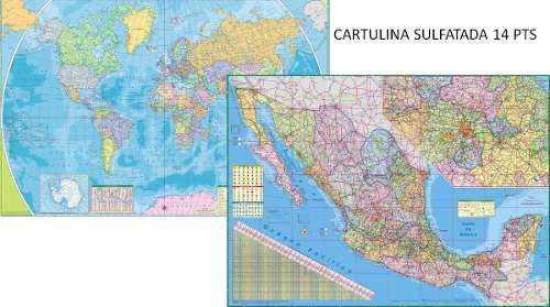 Mapamundi + mapa mexico murales gigantes viajes cartulina