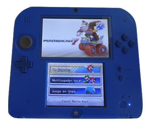 Nintendo 2ds azul, con su caja y 4 juegos