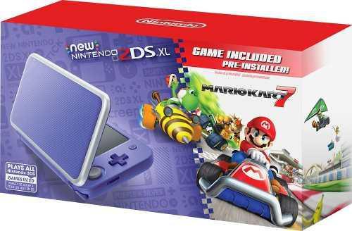 Nintendo - new 2ds xl mario kart 7 bundle - purple + silver