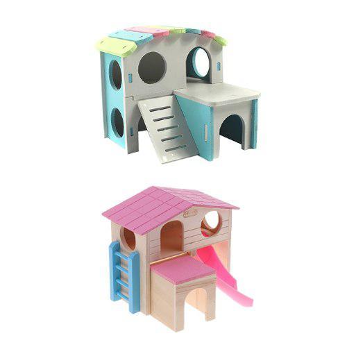 2x hamster escondite capas casa de madera choza mascota ropa