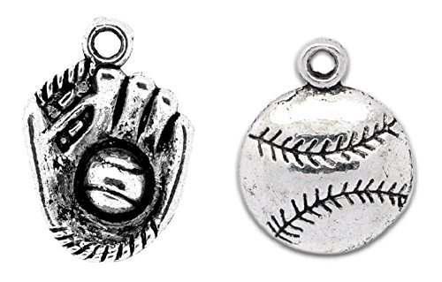 Encantos de beisbol o de softbol: 70 piezas 20 guantes y 50