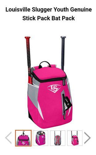 Mochila batera louisville beisbol y softbol rojo y rosa