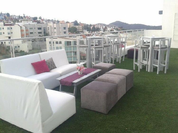 Renta salas vintage,periqueras,lounge,pista iluminada 750