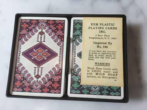 1940-50 juego cartas barajas poker kem 2 mazos 100% plastic