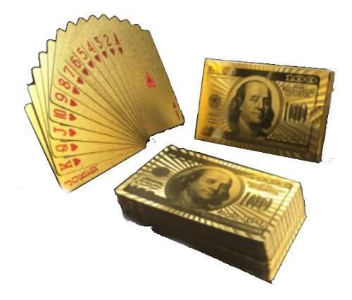 Cartas baraja doradas pet juego de naipes 100 dolares