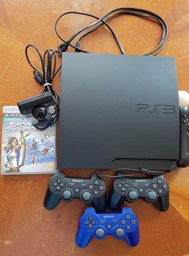 Consola ps3 slim 500gb+3 controles+play station move+juegos