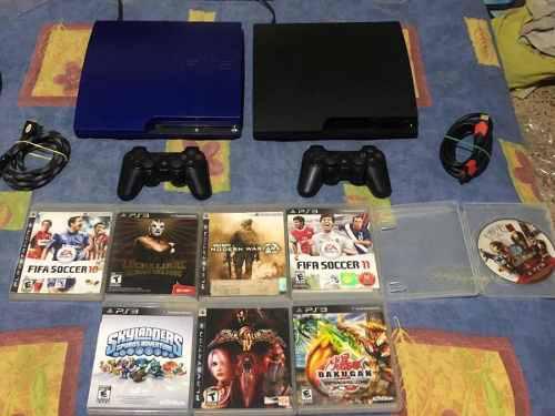 Ps3 azul y negro 200 y 250 gb + juegos + control