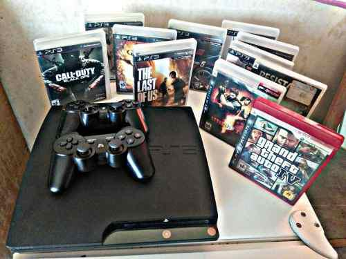 Ps3 slim, 11 juegos, 2 controles, cable usb, 120 gb