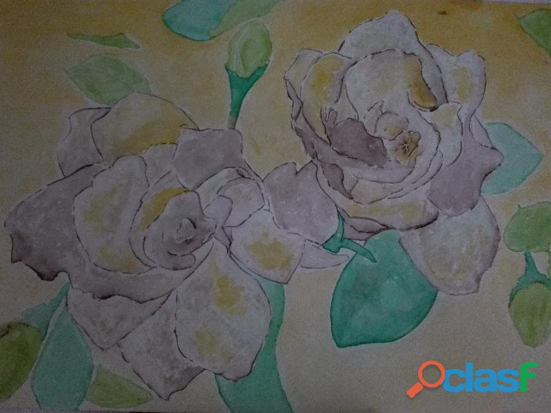 Acuarela y grabado en tinta para decoración