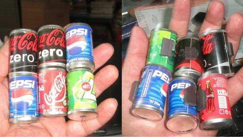 6 latas, coca cola, pepsi cola y seven up
