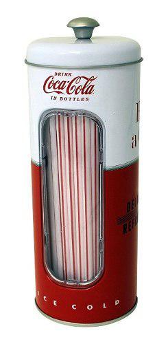 Coca cola dispensador de popotes coleccionable 50 pajitas