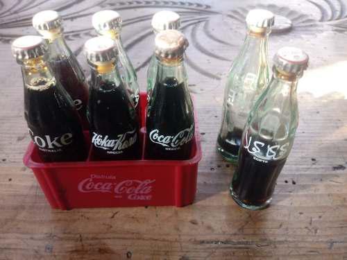 Coca cola mini rejita con 6 botellitas de los 90's