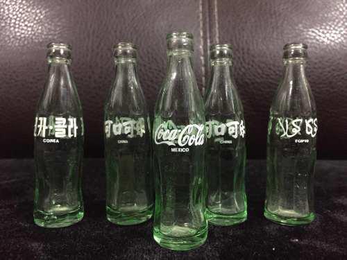 Lote 5 botellitas vintage miniatura de coca cola de vidrio