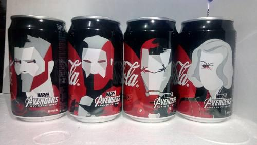 Set 4 latas coca cola zero avengers 2018 taiwán