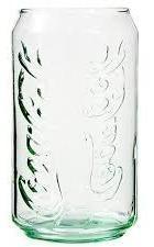 Vaso de vidrio de la coca cola en forma de lata de aluminio