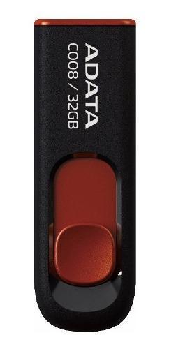 Adata memorias usb 32gb retractil 2.0 c008 negro con rojo