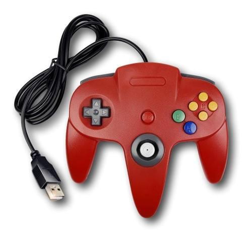 Control joystick usb para pc juegos nintendo n64 rojo