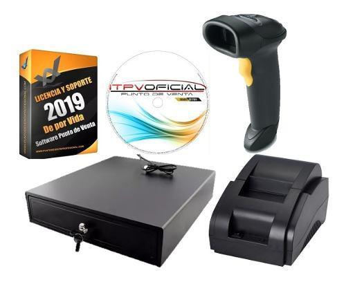 Kit punto de venta, cajon, impresora, lector y software msi