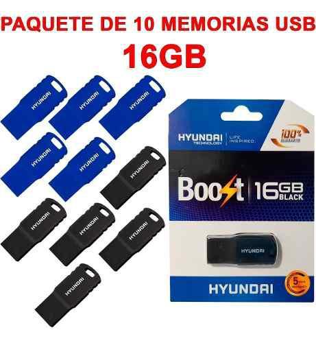 Memorias usb paquete 10 piezas hyundai u2b/ht1 16gb 2.0nuevo