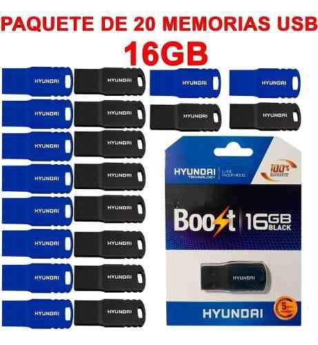 Memorias usb paquete 20 piezas hyundai u2b/ht1 16gb 2.0nuevo